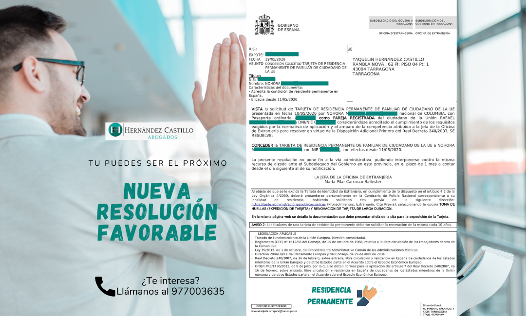NUEVA RESOLUCION FAVORABLE DE RESIDENCIA PERMANENTE EN SOLO 8 DÍAS