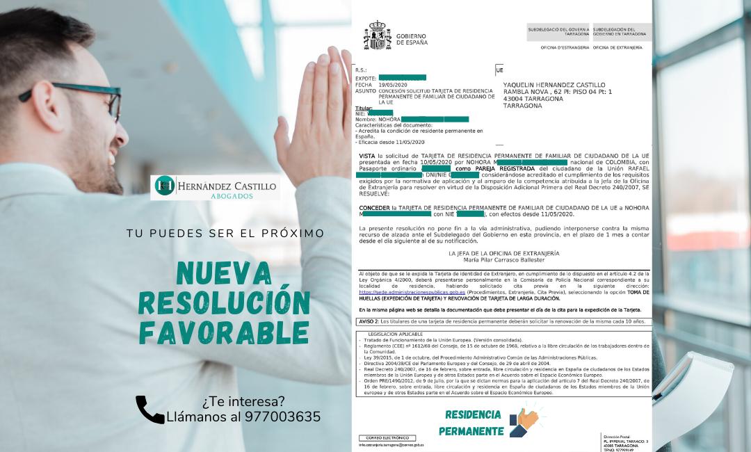 NUEVA RESOLUCION FAVORABLE DE RESIDENCIA PERMANENTE EN SOLO 8 DÍAS