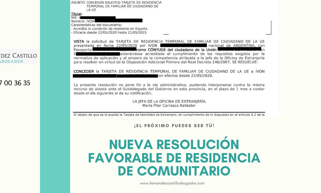 NUEVA RESOLUCION FAVORABLE DE RESIDENCIA DE FAMILIAR DE COMUNITARIO RESUELTA EN SOLO 4 DIAS
