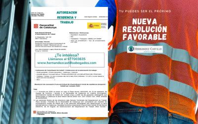 RESIDENCIA INICIAL DE RESIDENCIA Y TRABAJO POR CUENTA AJENA CONCEDIDA A NUESTRO CLIENTE ABDELLAH