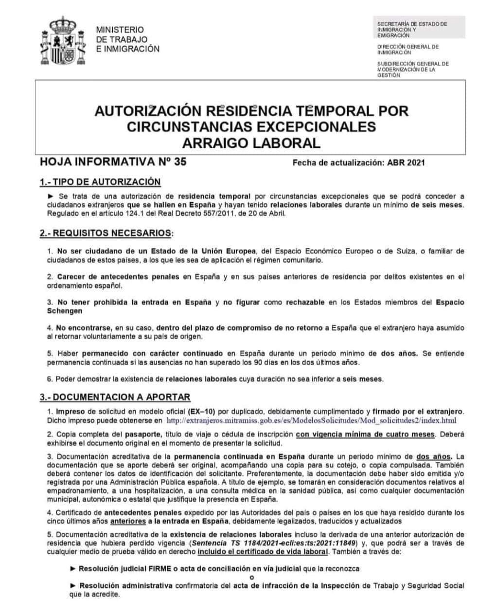 Arraigo Laboral España